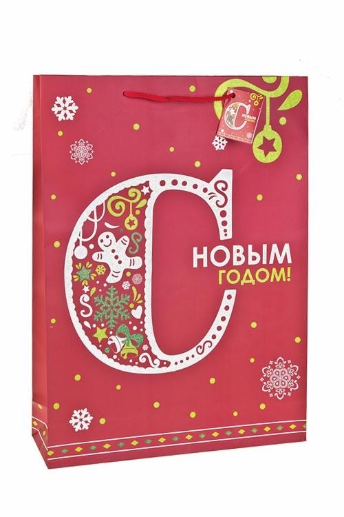 Пакет подарочный новогодний С Новым Годом!Сувениры и упаковка<br>32.4*10.2*44.5см, бум., матовый, с декором<br>