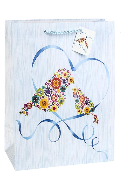 Пакет подарочный Цветочные птицыПакеты про Любовь<br>32.4*10.2*44.5см, бум., матовый, с декором<br>