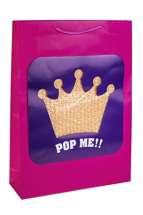 Пакет подарочный КоронаПакеты на любой повод<br>32.4*10.2*44.5см, бум., матовый, с декором<br>