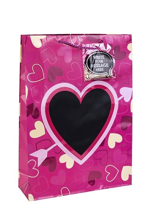 Пакет подарочный Внутри сердцаСувениры и упаковка<br>32.4*10.2*44.5см, бум., глянцевый, с декором, с мелком<br>