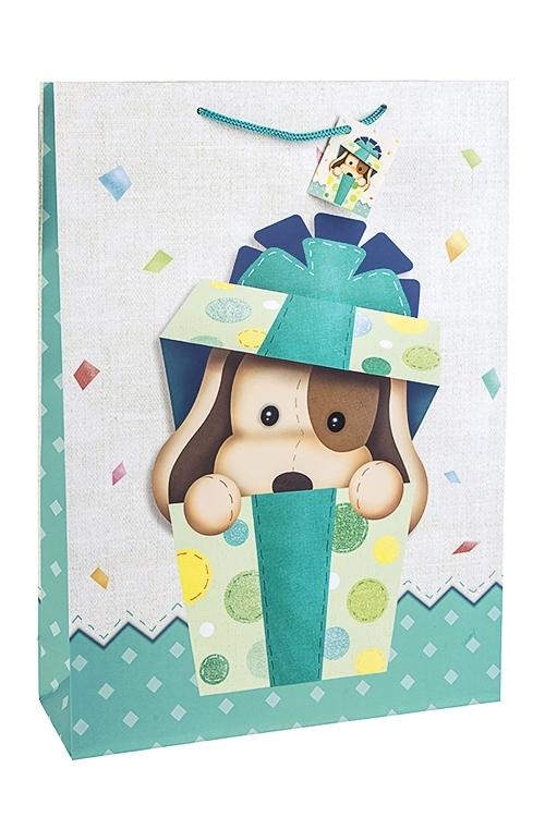 Пакет подарочный ЩеночекПакеты на любой повод<br>32.4*10.2*44.5см, бум., матовый, с декором<br>