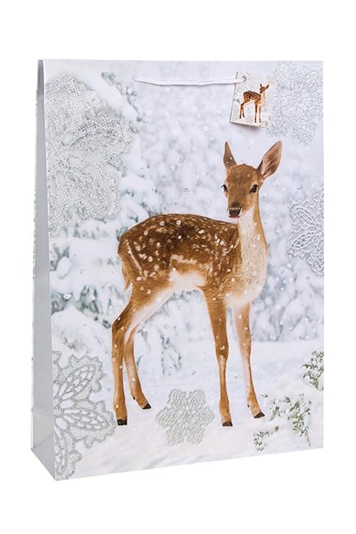 Пакет подарочный новогодний Олененок в лесуПакеты «С Новым годом и Рождеством»<br>32.4*10.2*44.5см, бум., матовый, с декором<br>
