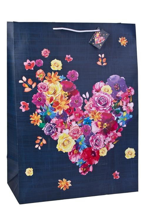 Пакет подарочный Расцвет любвиСувениры и упаковка<br>40.6*20.3*55.8см, бум., матовый, с декором<br>