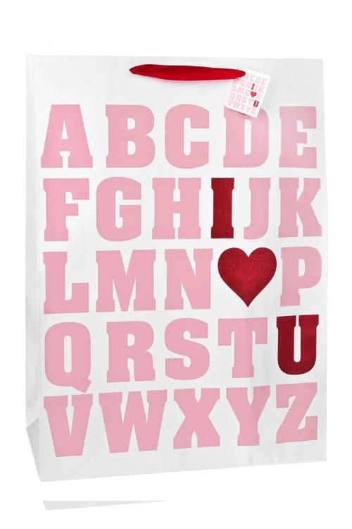 Пакет подарочный Азбука любвиСувениры и упаковка<br>40.6*20.3*55.8см, бум., матовый, с декором<br>