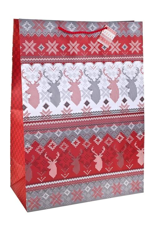 Пакет подарочный новогодний Норвежский оленьСувениры и упаковка<br>40.6*20.3*55.8см, бум., матовый<br>