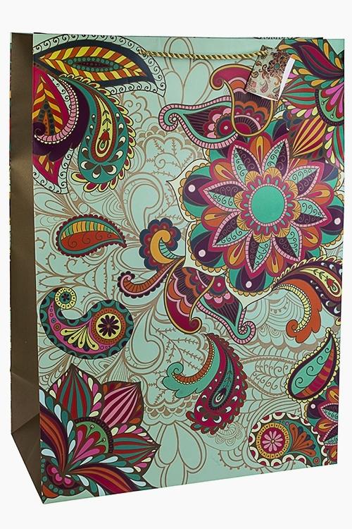 Пакет подарочный Восточные цветыСувениры и упаковка<br>40.6*20.3*55.8см, бум., матовый<br>