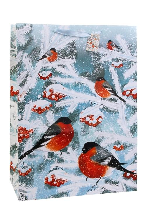 Пакет подарочный новогодний Волшебные снегириСувениры и упаковка<br>40.6*20.3*55.8см, бум., матовый<br>