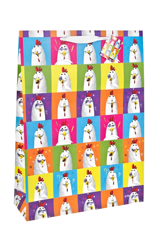 Пакет подарочный Поп-петухиСувениры и упаковка<br>Материал: бумага, сатиновая лента<br>