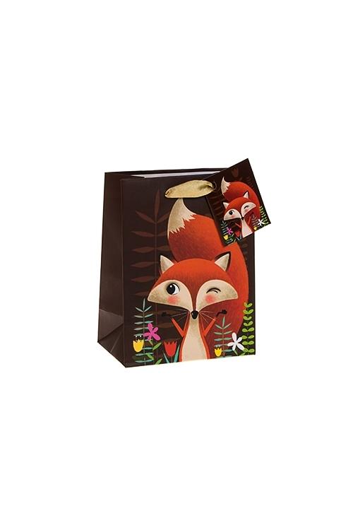Пакет подарочный ЛисуньяСувениры и упаковка<br>11*14см, бум., коричн.<br>