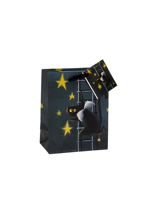 Пакет подарочный АнгелокотПакеты на любой повод<br>11*14см, бум., синий<br>
