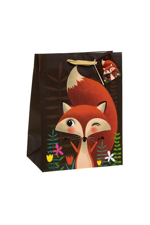Пакет подарочный ЛисуньяСувениры и упаковка<br>19*25см, бум., коричн.<br>