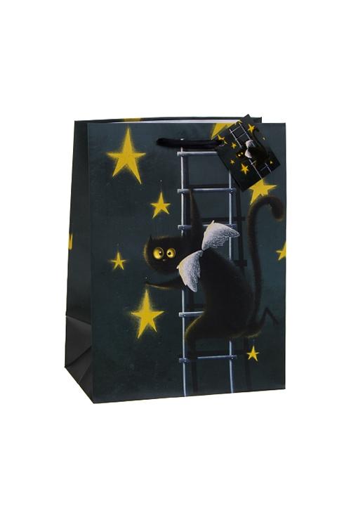 Пакет подарочный АнгелокотСувениры и упаковка<br>19*25см, бум., серо-синий<br>