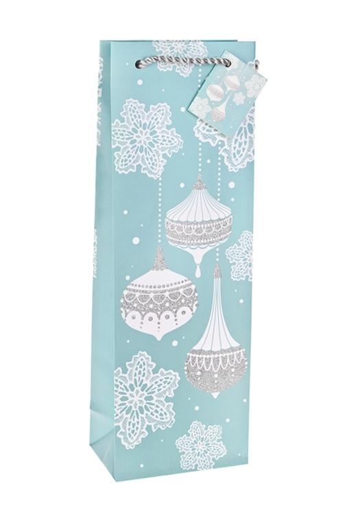 Пакет подарочный новогодний для бутылки Новогодние игрушкиСувениры и упаковка<br>12.3*7.8*36.2см, бум., матовый, с декором<br>