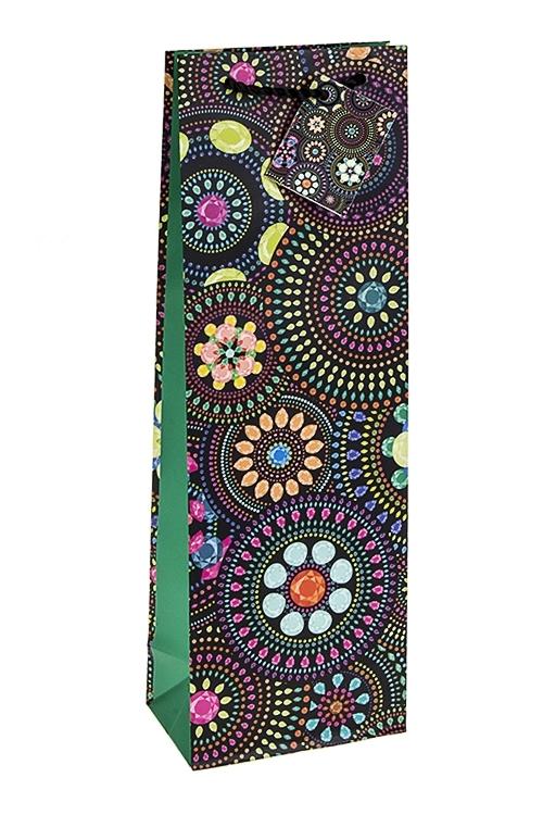 Пакет подарочный для бутылки Цветочная мозаикаСувениры и упаковка<br>12.3*7.8*36.2см, бум., матовый<br>