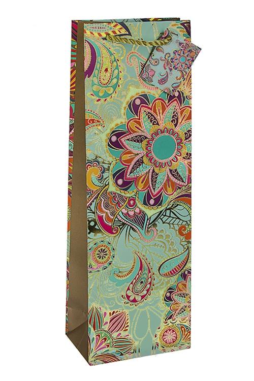 Пакет подарочный для бутылки Восточные цветыПодарки на 8 марта<br>12.3*7.8*36.2см, бум., матовый, с горячим тиснением<br>