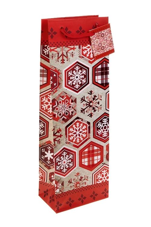 """Пакет подарочный для бутылки """"Алые снежинки"""" от Красный куб"""