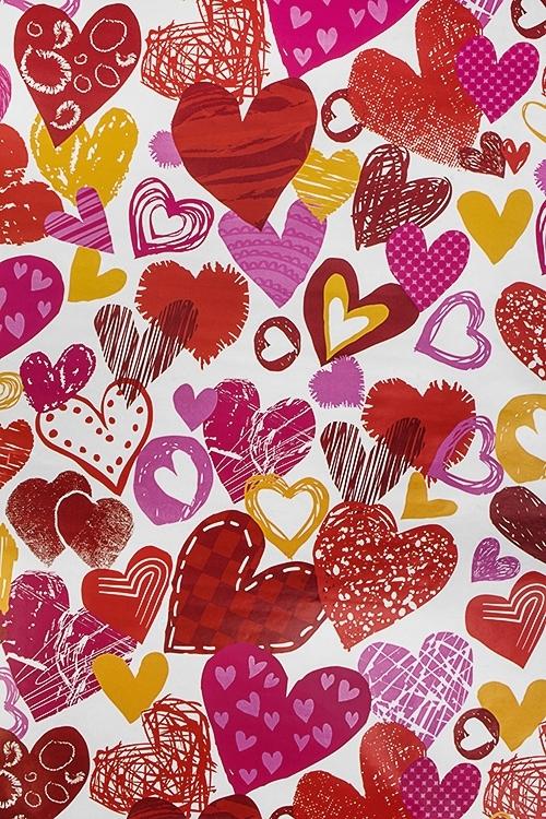 Бумага упаковочная Поток сердецУпаковочная бумага<br>70*100см<br>