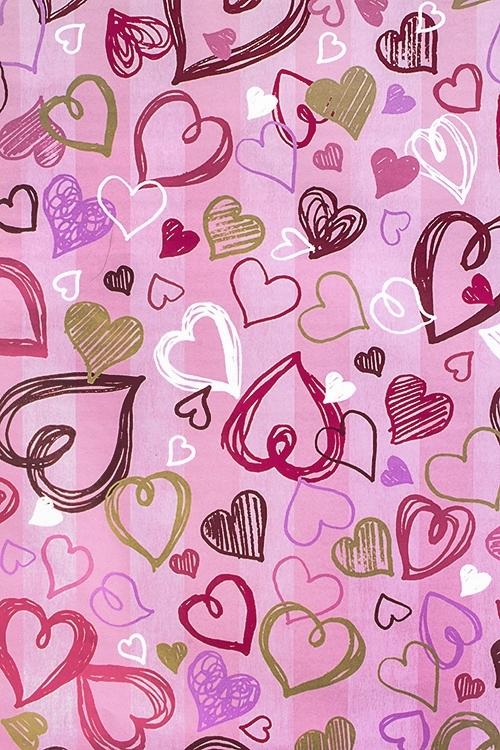 Бумага упаковочная Танцующие сердцаУпаковочная бумага<br>70*100см<br>