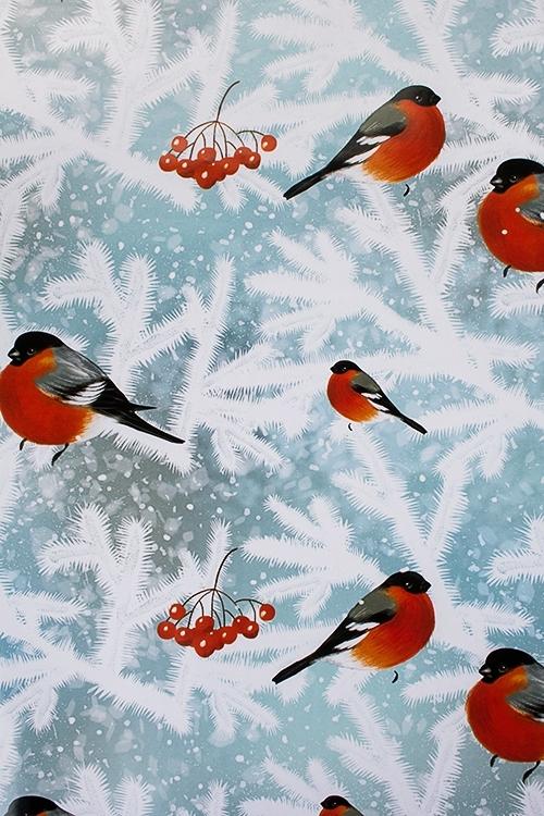 Бумага упаковочная новогодняя Волшебные снегириУпаковочная бумага<br>70*100см<br>