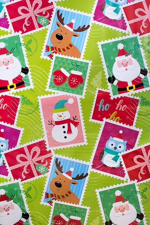 Бумага упаковочная новогодняя Праздничные маркиУпаковочная бумага<br>70*100см<br>