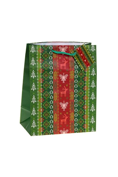 Пакет подарочный новогодний Олени с ангеламиПакеты «С Новым годом и Рождеством»<br>18*10*22.7см, бум., матовый<br>