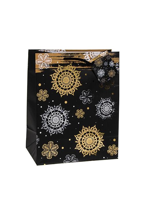 Пакет подарочный новогодний Ночной снегопадПакеты «С Новым годом и Рождеством»<br>18*10*22.7см, бум., матовый, с гор. тиснением<br>