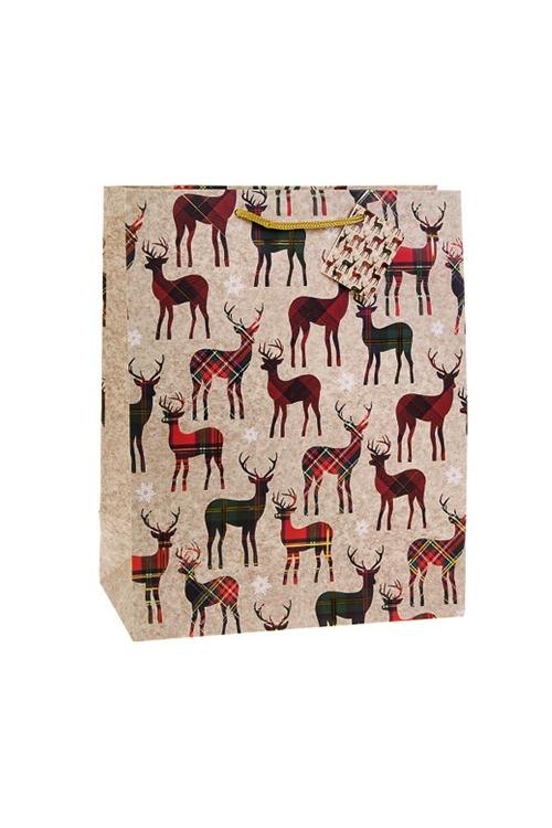 Пакет подарочный новогодний Шотландские олениСувениры и упаковка<br>18*10*22.7см, бум., матовый, с гор. тиснением<br>