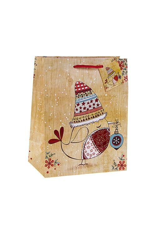 Пакет подарочный новогодний СнегирекПакеты «С Новым годом и Рождеством»<br>18*10*22.7см, бум., матовый, с гор. тиснением<br>
