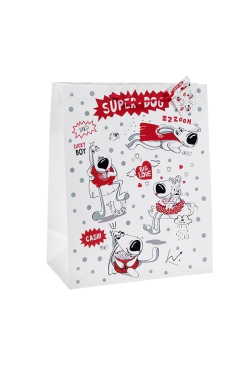 Пакет подарочный СуперпесСувениры и упаковка<br>18*10*22.7см, бум., с декором<br>