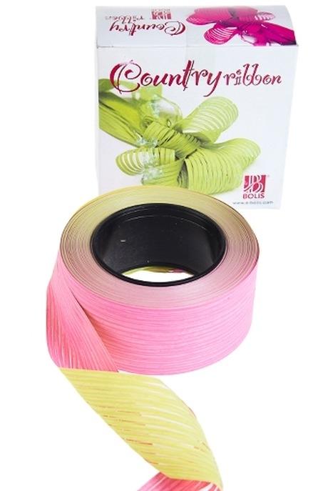 Лента упаковочная ЛапшаСувениры и упаковка<br>Ш=5см, Дл=1м, полипропилен, розово-желтая<br>