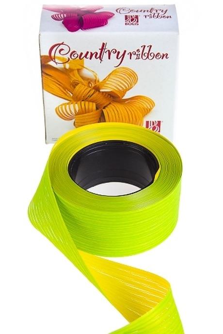 Лента упаковочная ЛапшаСувениры и упаковка<br>Ш=5см, Дл=1м, полипропилен, желто-зеленая<br>