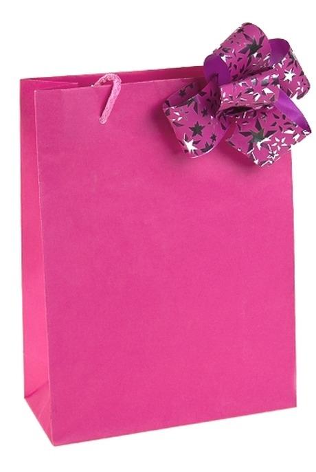 Пакет КлассикСувениры и упаковка<br>22*10*27см, бум., с бантом, розовый<br>