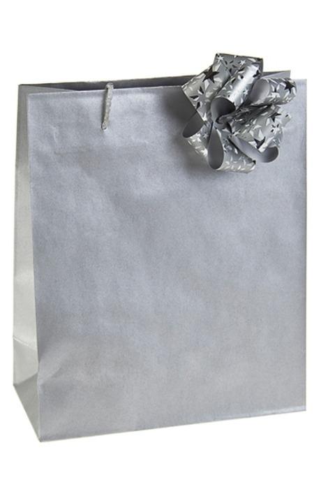 Пакет КлассикСувениры и упаковка<br>22*10*27см, бум., с бантом, серебр.<br>