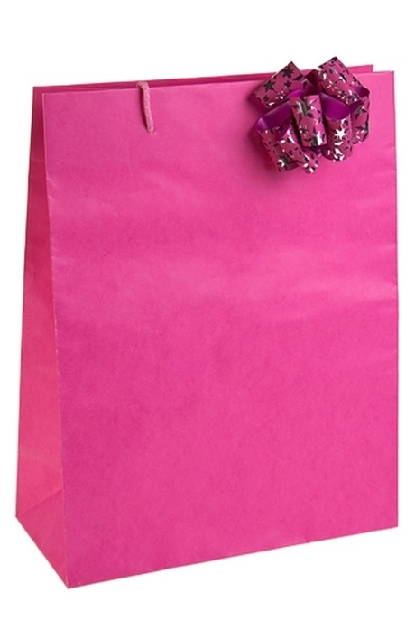 Пакет КлассикСувениры и упаковка<br>27*12*35см, бум., с бантом, розовый<br>