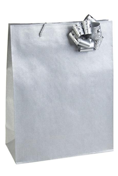 Пакет КлассикСувениры и упаковка<br>27*12*35см, бум., с бантом, серебр.<br>