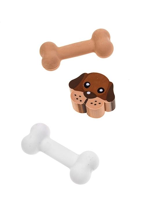 Набор ластиков Собачка с косточкойКанцелярские мелочи<br>3-предм.<br>