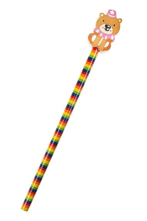 Карандаш МишуткаРучки и карандаши<br>Дл=20см, с фигурным ластиком<br>