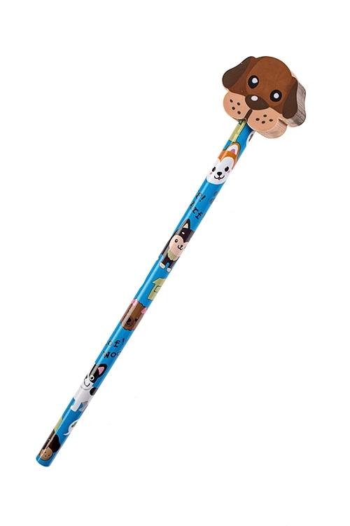 Карандаш СобачкаРучки и карандаши<br>Дл=19см, с фигурным ластиком<br>