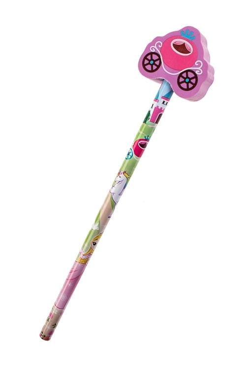 Карандаш Для принцессРучки и карандаши<br>Дл=20см, с фигурным ластиком (4 вида)<br>