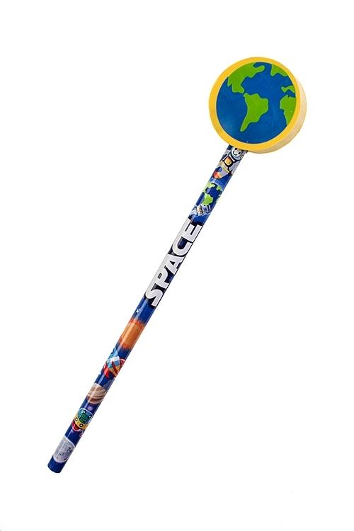 Карандаш В космосУчеба и работа<br>Дл=19см, с фигурным ластиком (4 вида)<br>