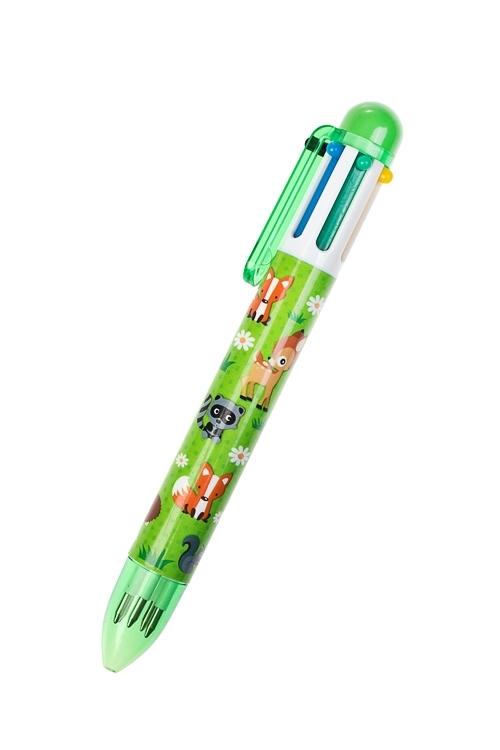 Ручка шариковая многоцветная Лесные жителиРучки и карандаши<br>Дл=14см, пластм. (6 цветов чернил)<br>