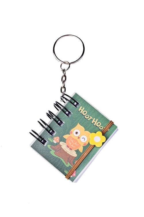 Записная книжка-брелок Веселые совыЗаписные и телефонные книжки<br>3.7*4.7см, бум., пласт. (4 вида)<br>