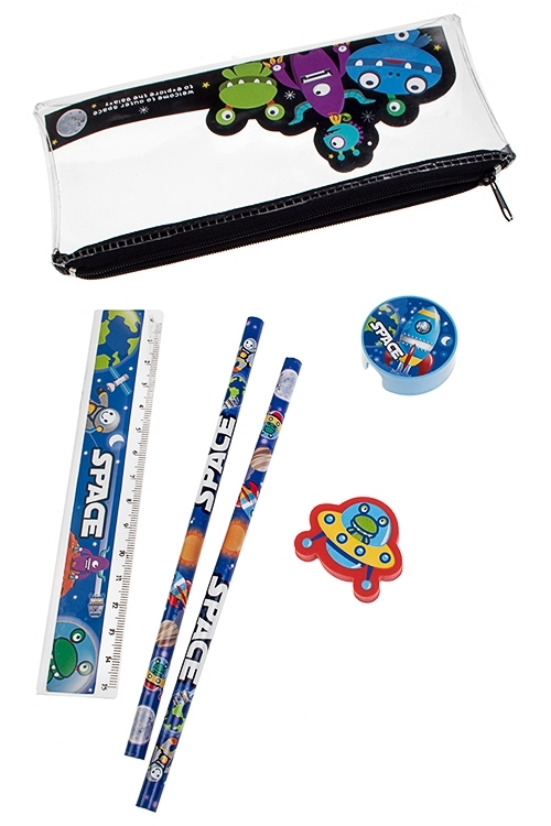 Набор канцелярский В космосУчеба и работа<br>Линейка, ластик, 2 карандаша, точилка)<br>