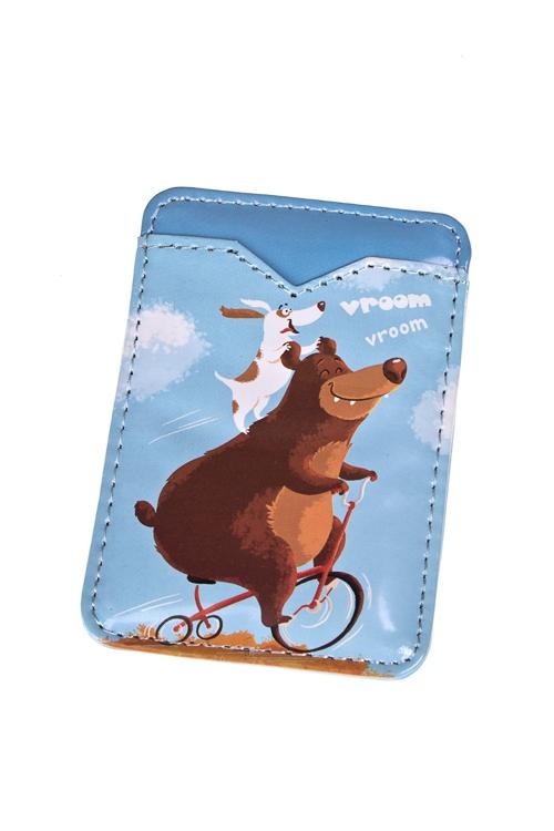 Держатель для карточки-пропуска Мишка-велогонщикУчеба и работа<br>6.3*9.3см, ПВХ<br>