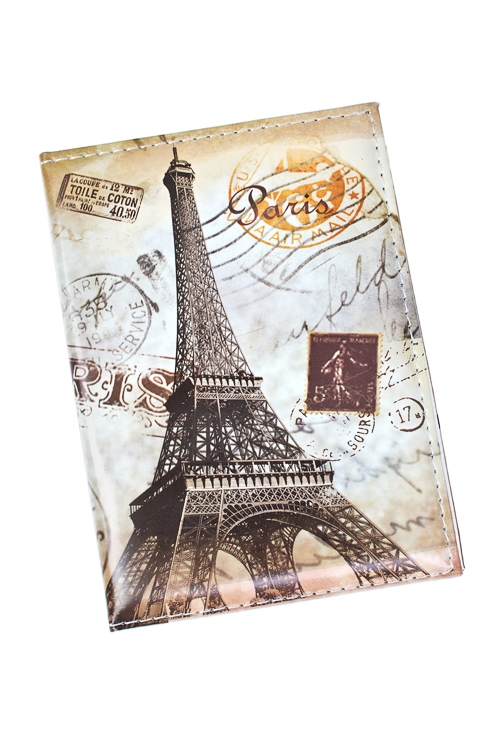 Обложка для паспорта Прекрасный ПарижОбложки для паспорта<br>10*13.5см, ПВХ<br>