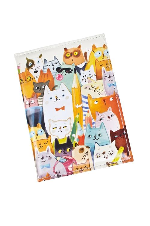 Обложка для паспорта Ученые котыДача и Путешествия<br>10*13.5см, ПВХ<br>