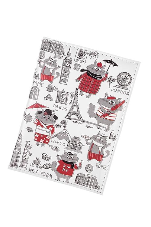 Обложка для паспорта Коты-путешественникиОбложки для паспорта<br>10*13.5см, ПВХ<br>