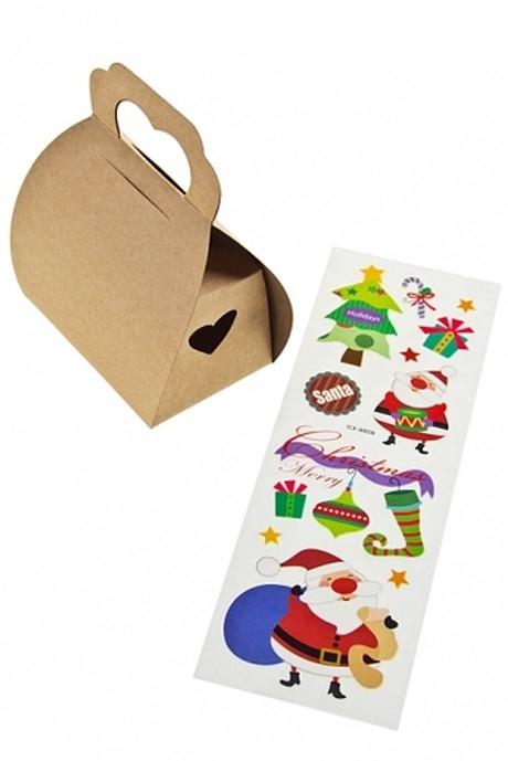 Коробка подарочная новогодняя ПраздничнаяНаклейки и аппликации<br>10*6*12.5см, бумага, с наклейками (2 вида)<br>