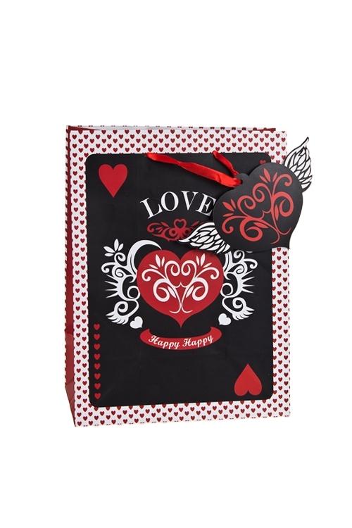 Пакет подарочный Порхающее сердцеПакеты про Любовь<br>19*11.4*25см, бум., матовый<br>
