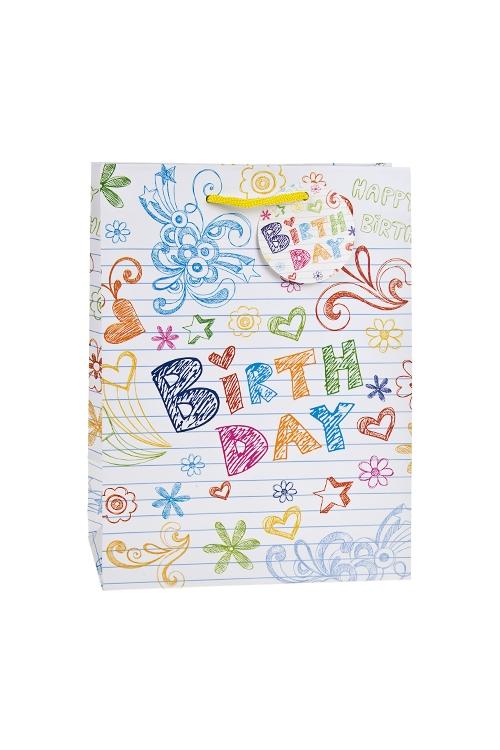 Пакет подарочный Поздравление от рукиПакеты «С Днем рождения»<br>19*11.4*25см, бум., матовый<br>